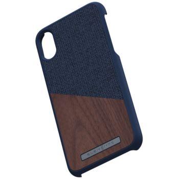 Nordic Elements iPhone Xr Bois de Noyer / Tissu bleu