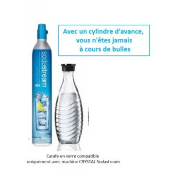 Sodastream Pack Cylindre CO2 60L + 1 carafe verre