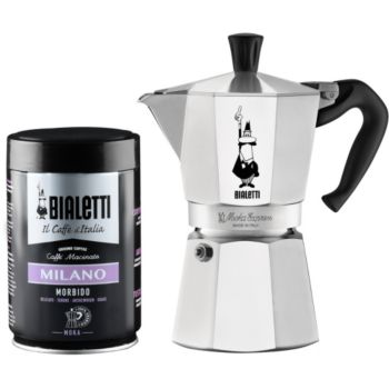 Bialetti cafetiere 6 tasses + cafe moulu 250g