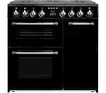 Piano de cuisson mixte Smeg  BU93BL Noir