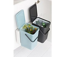 Poubelle manuelle Brabantia  Built-in Bin Sort & Go 2x16L Mint & Grey