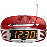 Radio réveil Akai AR400 rouge