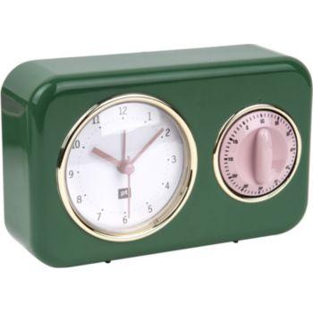 Present Time Horloge vintage vert sapin PT2970GR