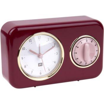 Present Time Horloge vintage rouge bourgogne PT2970RD
