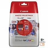 Cartouche d'encre Canon CLI551 XL N/C/M/J+papier photo