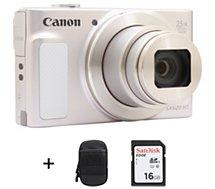 Appareil photo Compact Canon  SX620 HS Argent et Blanc + Etui + SD16Go