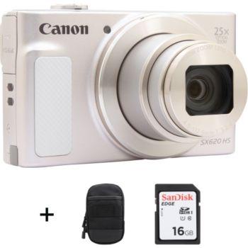 Canon SX620 HS Argent et Blanc + Etui + SD16Go