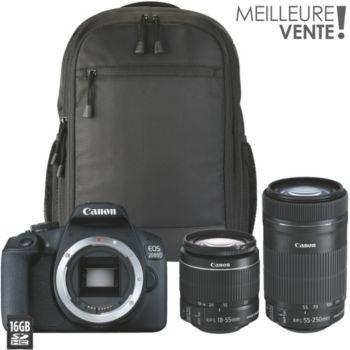 Canon EOS 2000D+18-55mm+55-250mm+Etui+16Go