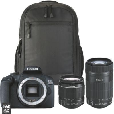 Location Appareil photo Reflex Canon EOS 2000D+18-55 IS+55-250 IS+Sac+SD