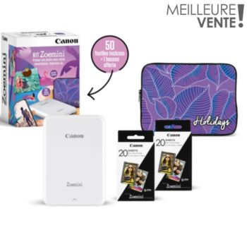 Canon Kit Zoemini Blanche+50 feuilles+Housse