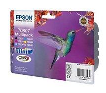 Cartouche d'encre Epson  T0807 (N/C/M/J/MC/CC) série Colibri