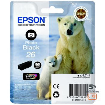 Epson T2611 Noire Photo Série Ours Polaire