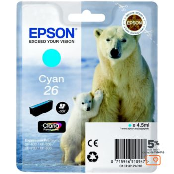 Epson T2612 Cyan Série Ours Polaire