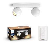 Ampoule connectée Philips  Hue Buckram 2 Spots Blanc + télécommande