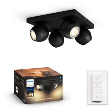 Philips Hue Buckram 4 Spots Noir + télécommande