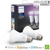 Ampoule connectée Philips Pack x2 E27 Hue White & colors