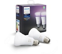 Ampoule connectable Philips Pack x2 E27 Hue White & colors