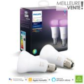 Ampoule connectée Philips Pack x2 E27 Hue White & colors