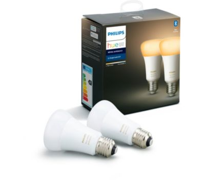 Ampoule connectée Philips Pack x2 E27 White & Ambiance