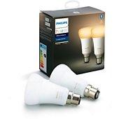 Ampoule connectée Philips Pack x2 B22 Hue White & Ambiance