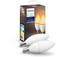 Ampoule connectée Philips  Hue Pack x2 E14 White & Ambiance