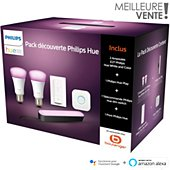 Ampoule connectée Philips Démarrage E27 W&C + 1 Hue Play